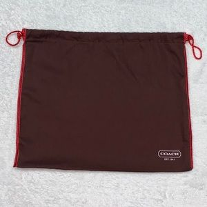 Small brown coach dust bag cover with drawstrings